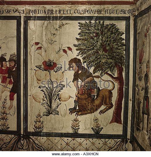 изобразительного искусства религиозного искусства библейские сцены Самсон борется лев живопись Dalecarlian деревенское картина Эрика Элиассона 1781 - Stock Image