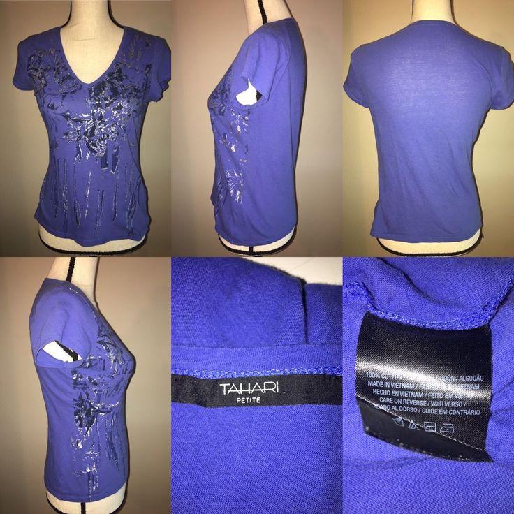 Tahari Petite Short Sleeve Top Petites SZ S/M   | eBay