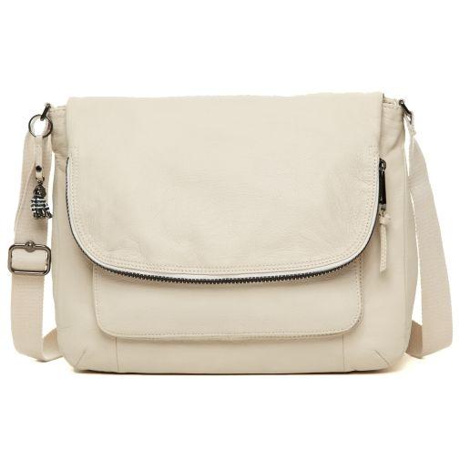 Garan leather handbag in mink brown color