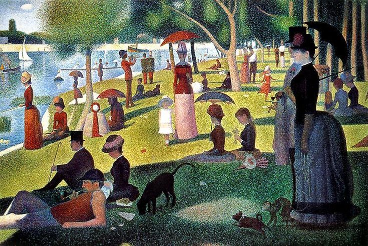 A Sunday Afternoon on the Island of La Grande Jatte by Georges Pierre Seurat, 1884. Oil painting. Pointillism.