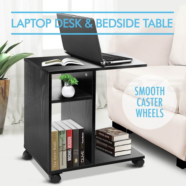 Mobile Computer Laptop Desk Side Bedside Table Notebook Stand Portable BK | eBay