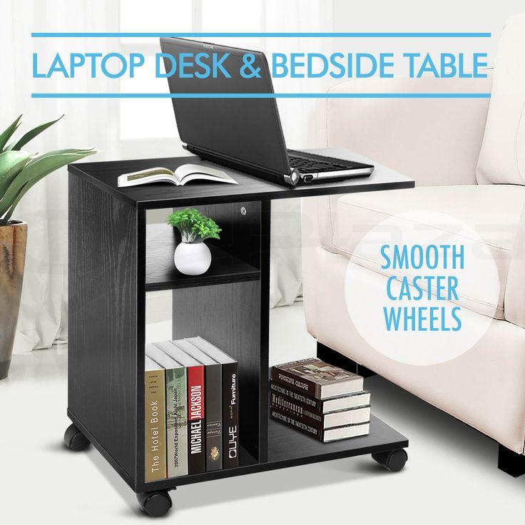Mobile Computer Laptop Desk Side Bedside Table Notebook Stand Portable BK   eBay