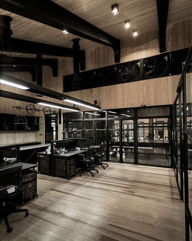 Decoraci n de oficina con estilo industrial interiores for Despacho estilo industrial