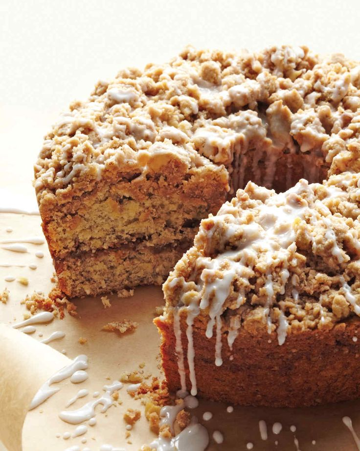 "Cinnamon-Streusel Coffee Cake | Martha Stewart Living - Meaning ""something strewn"" in Old German, streusel is easy to throw together -- and then to throw on top of this moist sour cream cake."