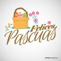Vinilos para Vidrieras –Canasta con huevos y flores – Felices Pascuas – Medida 69×50 cm MOD #VFP012 Personalizá el color a tu gusto!