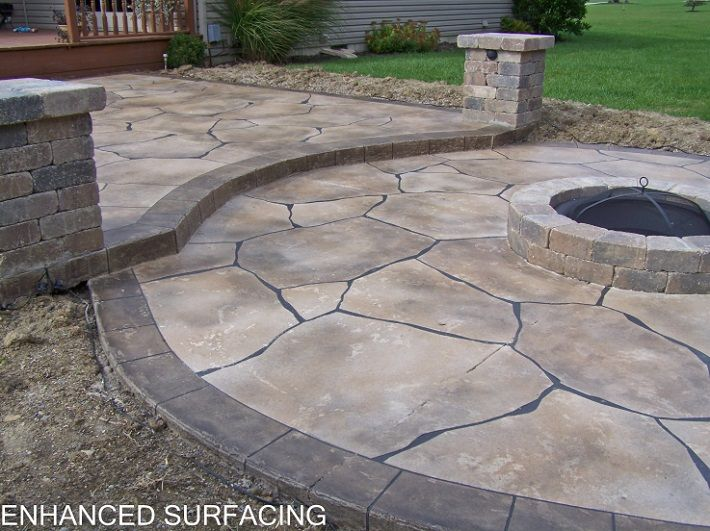 Fire Pit Patio Concrete Overlay Findlay Oh Ohio