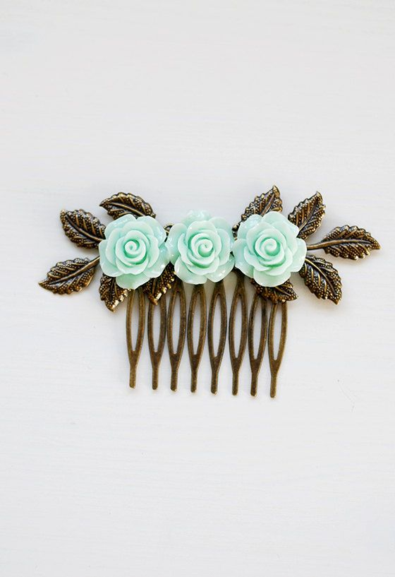 Mint Green Hair Comb Seafoam Green Mint Wedding Hair by LeChaim