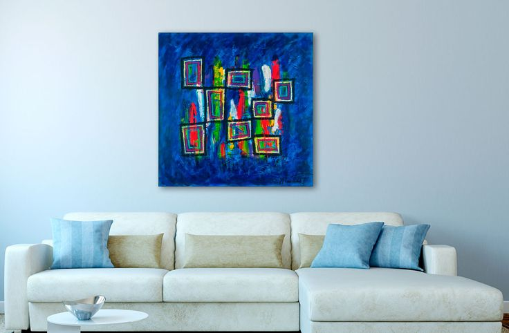 Ideas for decorating your home with paintings 100x100 cm - Art by Lønfeldt - Art original acrylic abstract paintings