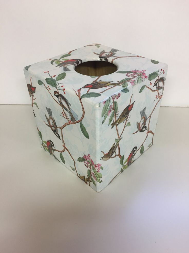 Tissue Box Cover Bird Song wooden handmade in UK by crackpotscrafts on Etsy