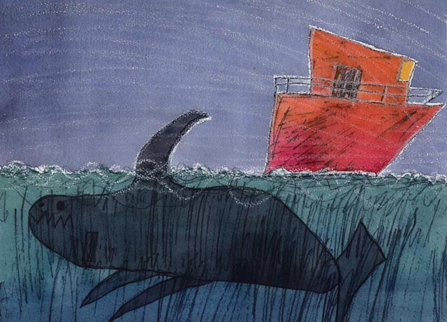 """Kids Antarctic Art Exhibition. 'The Fin' - Rowan Reed with Alison Lester   Inkjet printed image on watercolour paper hand-coloured with watercolour.  2007. """"Caroline saw a huge black fin on the bow wave of the ship."""""""