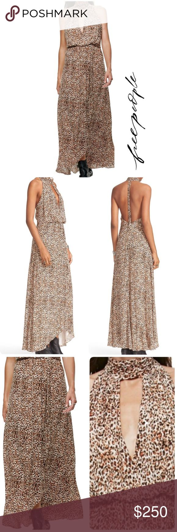 "FREE PEOPLE Halter Neck Animal Instinct Maxi Dress FREE PEOPLE Halter Neck Animal Instinct Maxi Dress  BRAND: Free People SIZE: 4  COLOR: BLK COMBO (Black Combo) MATERIAL:  ••• Shell: 100% rayon ••• Lining: 100% rayon CARE: Dry Clean only CONDITION: NEW with tags STYLE: OB542590 MSRP: $350 DETAILS: Long cheetah print dress. Halter neckline. Band collar. Sleeveless. Hook and bar closure behind the neck. Fully lined. Made in China  APPROXIMATE MEASUREMENTS: Length: 56"" longest length Free…"