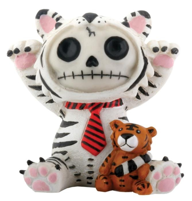 Furry Bones White Tigrrr White and Pink Figurine. #StealStreet. Cute, adorable, pretty, girly, kawaii, skeleton, home, decor, toy, tiger, tie, taunting.