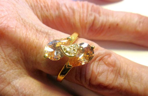 Gold morganite ring morganite jewelry crystal by artsandadornments