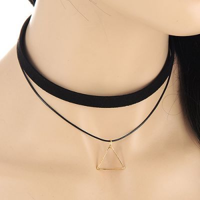 Choker Triangle Pendant Decorated Doule Layer Design