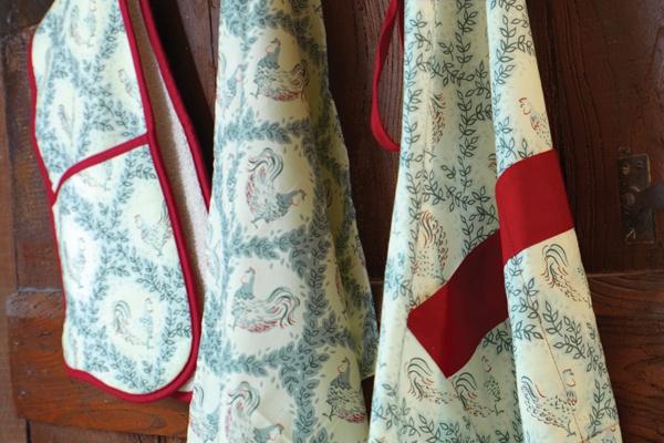 Beautiful fabrics at the AGA Cookshop