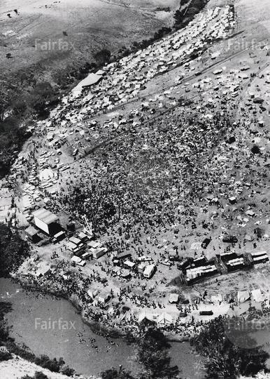 Aerial view of the Sunbury festival 1972
