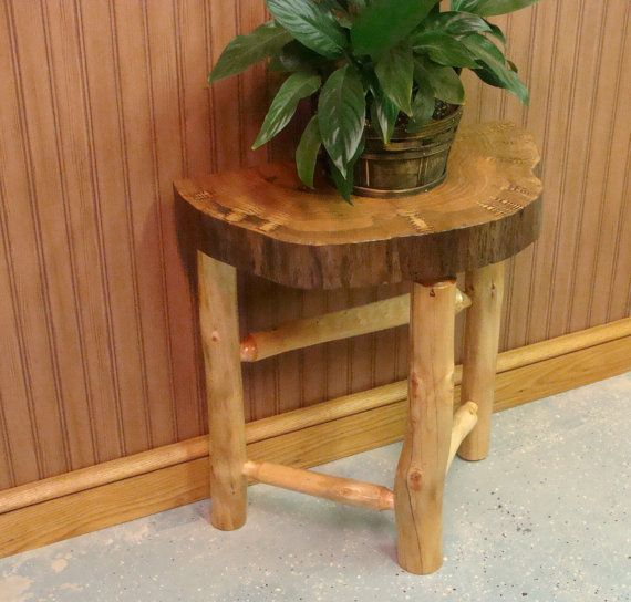 Cedar Round Log Dining Table Real Wood And 50 Similar Items: Rustic Oak Half Round Side Table End Table Plant Stand