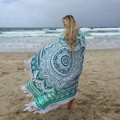 Kör alakú strand pokróc - Tengeri zöld - Dedoles.hu