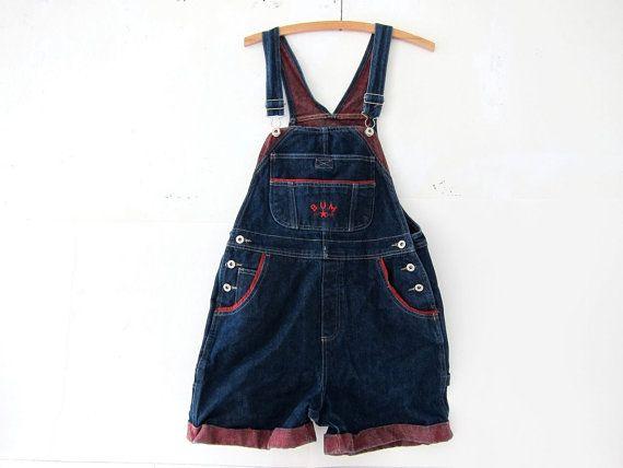 90s Bib Overalls jean shorts. BUM bibs. Women's dungarees.