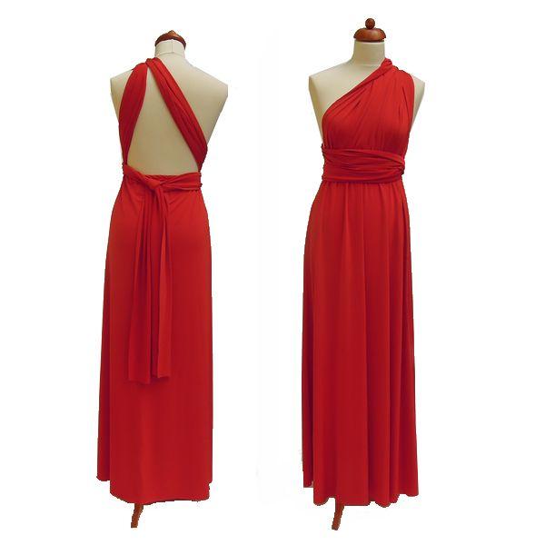 Dlouhé červené šaty. Variabilní šaty Convertibles jsou ideální na svatbu, maturitní ples, společenské akce i denní nošení. Uvažte si je jakkoliv budete chtít a pokaždé v nich můžete vypadat jinak.