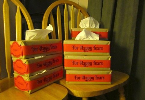 Happy Tears Tissue Boxes to place around church during wedding service <3