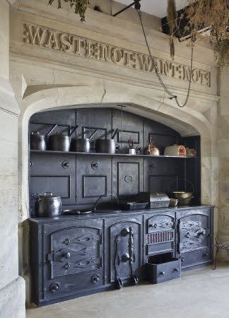 The Range And Surrounding Stonework With Carved Inscription In Kitchen At Gawthorpe Hall Lancashire