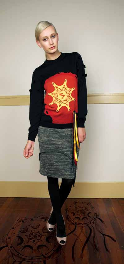Tambourine Jamboree Jumper from 100% Merino with intarsia artwork and Schist Pencil Skirt from 70% Merino 30% Lurex