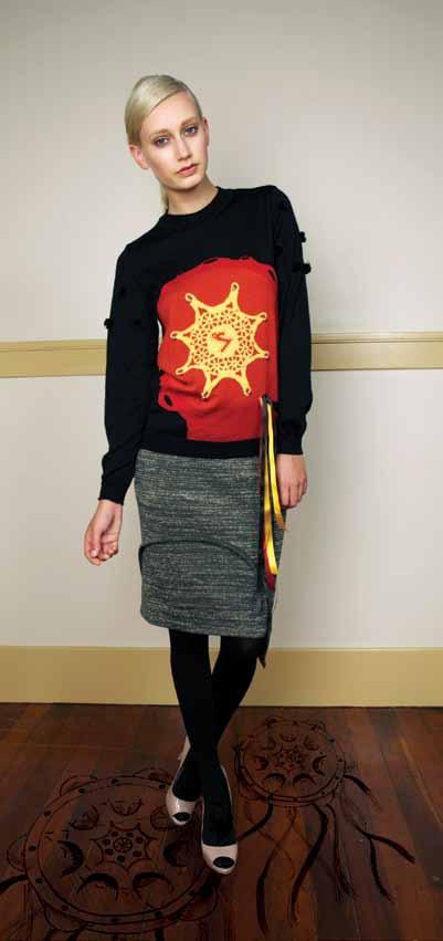 Tambourine Jamboree Jumper from 100% Merino with intarsia artwork and Schist Pencil Skirt from 70% Merino 30% Lurex
