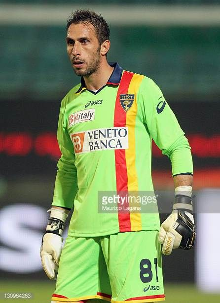 Massimiliano Benassi goalkeeper of Lecce in action during the Serie A match between US Citta di Palermo and US Lecce at Stadio Renzo Barbera on...