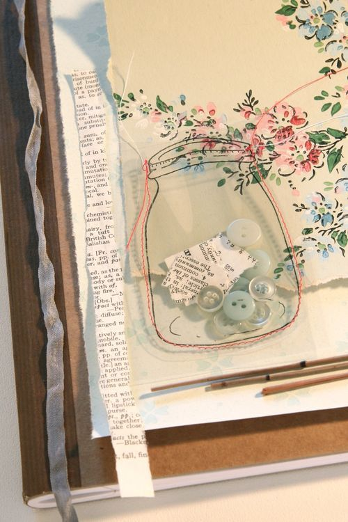 Transparent Treasures - Cynthia Shaffer  page for smash book: Smash Book Ideas Inspiration, Diy Embellishments For Cards, Transparent Mason, Jars Crafts, Collage Ideas, Art Journals, Jars Tags, Diy Scrapbook Pages Journals, Mason Jars