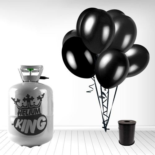 Lille Helium Gas Cylinder inkl. 30 Sorte Balloner og Bånd