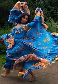 This is a Romani Gypsy performing a traditional Romani dance. The dance and the music of the Romani people is very much unique and original, and due to their isolation from other cultures has remained mostly unchanged.