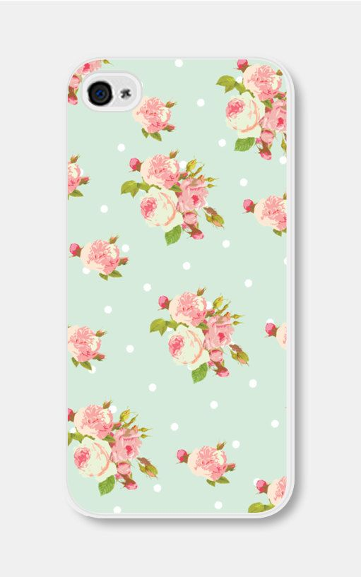 Floral Phone Case iPhone 4 / 4s or 5 / 5s Mint iPhone