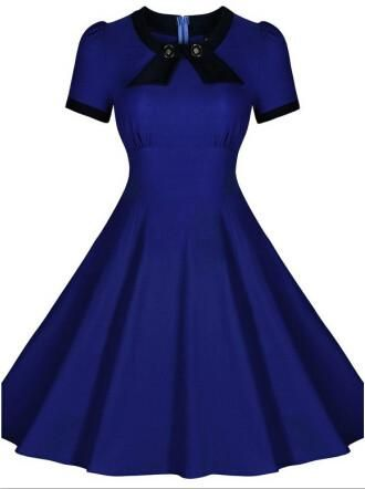 Women Summer Retro Vintage 50s Casual Party Rockabilly Dress Audrey Hepburn Pinup Swing Dress Plus Size Vestidos Femininos S-XXL Alternative Measures - Brides & Bridesmaids - Wedding, Bridal, Prom, Formal Gown - Alternative Measures - Blue / S - 2