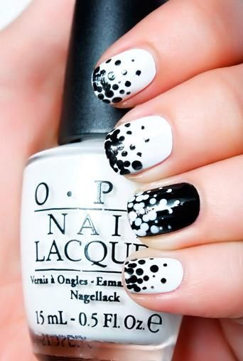 black white polka dots: Nail Polish, Nailart, Black And White, Nail Designs, Art Design, Black White, Nails, Nail Art