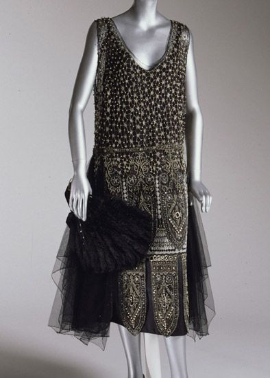 Evening Dress: 1925, American, silk tulle with elaborate beading.