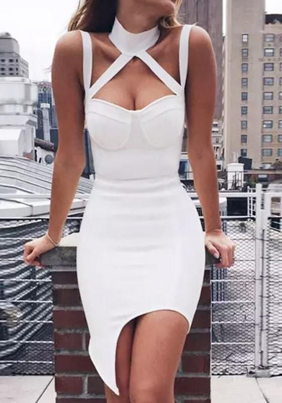 White Irregular Cut Out Condole Belt Halter Neck Sleeveless Homecoming  Party Midi Dress c8f025be8