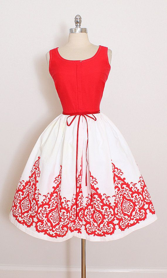 ➳ vintage 1950s dress * red & white cotton pique * damask printed skirt * detachable tie belt * front metal zipper condition   excellent fits like medium length 39 bodice length 15 bust 38 waist 28 some clothes may be clipped on dress form to show best fit for appropriate size. ➳ shop http://www.etsy.com/shop/millstreetvintage?ref=si_shop ➳ shop policies http://www.etsy.com/shop/millstreetvintage/policy twitter   MillStVintage faceb...