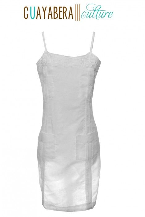 Sexy, classy, and distinctive, this Guayabera dress is designed and tailored to make an impression. Patterned after the traditional Classic Guayabera, this dress accentuates feminine curves perfectly. Crafted from 100% White Crisp Linen, this Guayabera Dress is a best seller for weddings, wedding parties, destination beach weddings, rehearsal parties, or simply to make an statement.