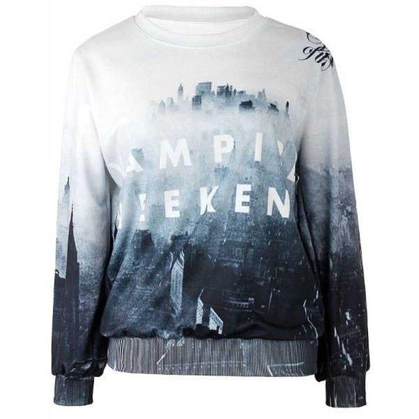 Black White Graphic Print Sweatshirt ($31) ❤ liked on Polyvore featuring tops, hoodies, sweatshirts, shirts, sweaters, loose fitting shirts, sweat shirts, black and white sweatshirt, long sleeve sweatshirt and longsleeve shirts