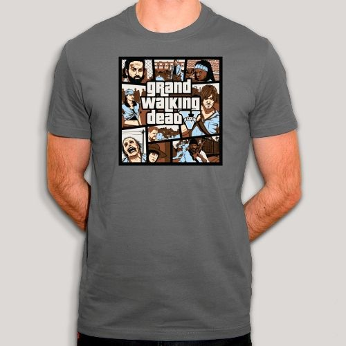 t-shirt walking dead,GTA5,tee shirt jeux video,geek,parodie