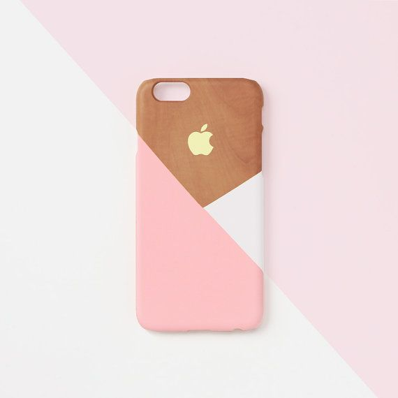 iPhone 6 / 6s Case - Pastel pink layered on wood pattern - iPhone 6s case, iPhone 6 Plus case, Good Luck Gold Sticker, non-glossy L05