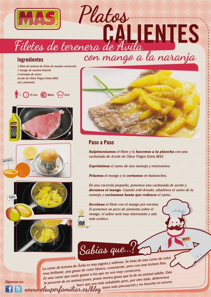Filetes de #Ternera de Ávila con #Mango a la naranja