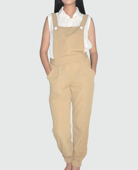 Nude Overalls Pants stretch with Rubber by anyonethelabel on Etsy