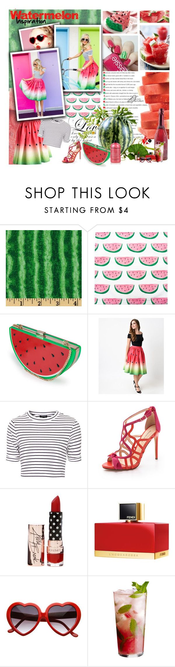 """Watermelon inspiration"" by ledianaaaaa ❤ liked on Polyvore featuring Disney, Nila Anthony, Unique Vintage, Topshop, Alexandre Birman, Fendi and Chanel"