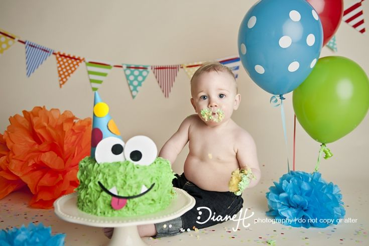 Monster Theme Cake Smash {Cresco IA best 1 year old baby photographer} » DianeH Photography