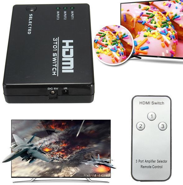 HDMI 3 Way Splitter 1080p Hub Switch Port Remote For HDTV Wii U PS3 Xbox 360 #UnbrandedGeneric