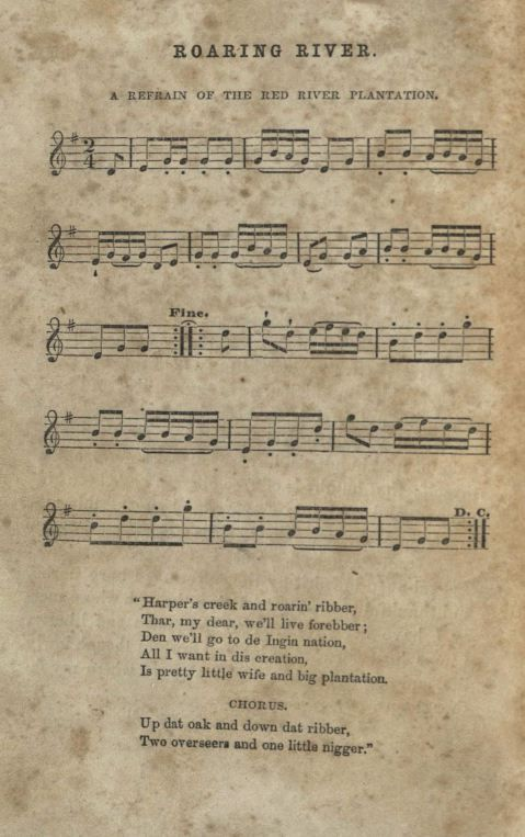 """""""Roaring River."""" In Twelve Years a Slave: Narrative of Solomon Northup, by Solomon Northup, 322. Song played on the fiddle."""
