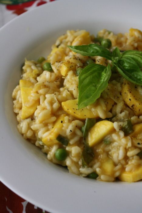 Summer Squash Risotto with Fresh Garlic, Petite Peas & Basil  #veganChocolates Trifles, Fresh Garlic, Petite Peas, Late Spring, Summer Squashes, Sweets Peas, Squashes Recipe, Squashes Risotto, Risotto Recipe