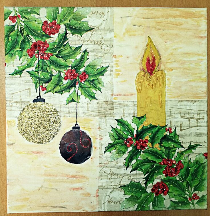 DIY Christmas mixed media canvas